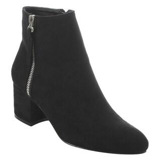 NATURE BREEZE EK70 Women's Side Zipper Chunky Block Heel Ankle Booties