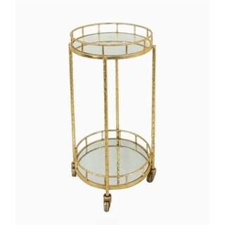 Attractive Metal & Mirror Round Bar Cart, Gold
