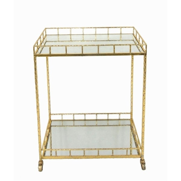 Grand Metal Mirror Bar Cart Gold
