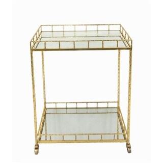 Grand Metal & Mirror Bar Cart, Gold