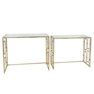 Benzara Marvelous Gold Metal/Glass Console Tables (Set of 2)