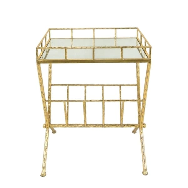 tempting metal & glass magazine rack accent table, gold - free