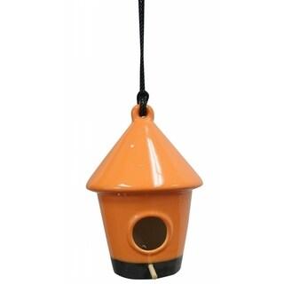 Orange Ceramic Hanging Bird House