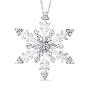 Sterling Silver 1/10ct TDW Diamond Snowflake Pendant (J-K, I1-I2)