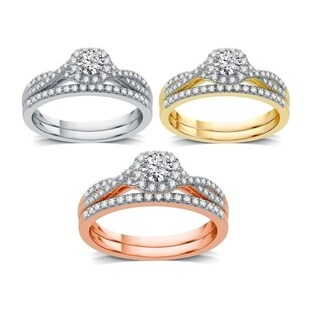 AMOUREUX 14k Gold 1/2 TDW Diamond Round Frame Cross Over Bridal Set (I/J, I1-I2) - White I-J