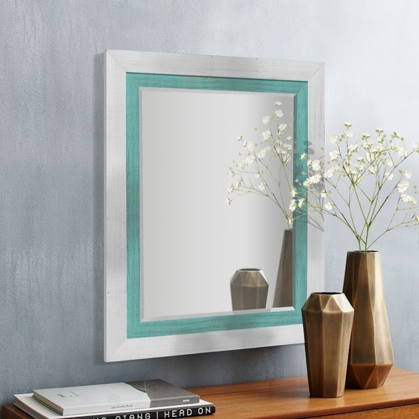 Appalachian Teal Framed Beveled Wall Mirror