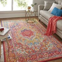 Copper Grove Sundarban Floral Pink/ MultiColor Traditional Border Area Rug - 5' x 8'