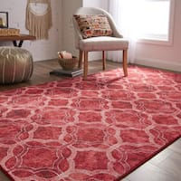 Gracewood Hollow Saba Quatrefoil Fret Red and Purple Lattice Area Rug - 5' x 8'