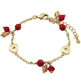Luxiro Gold Finish Open Hearts with Red 4mm Balls and Beads Children's Bracelet