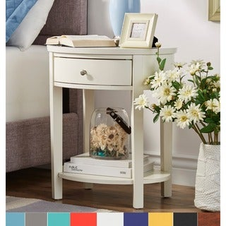 Fillmore 1-drawer Oval Wood Shelf Accent End Table by iNSPIRE Q Bold in Yellow (As Is Item)