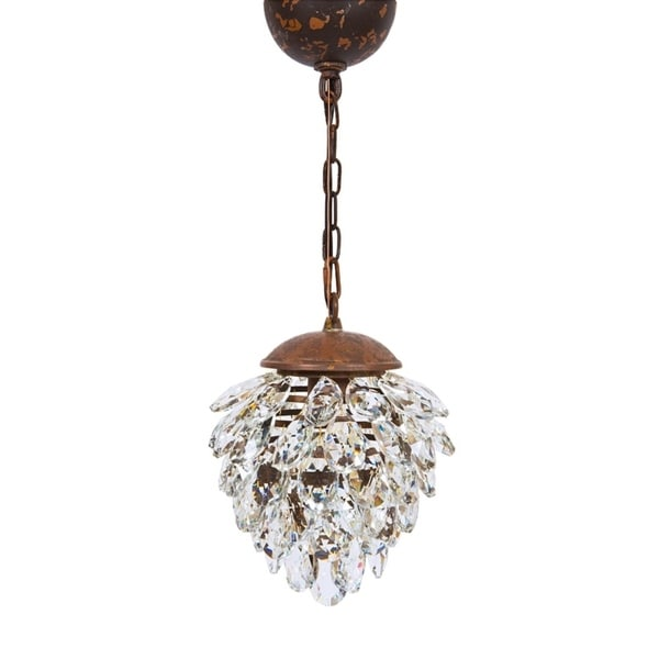 """Blossom Contemporary Glass Crystal Chandelier With Edison Bulb Pendant Lighting Ceiling Fixture H 8"""" X W 8"""""""