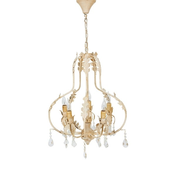 """Berkeley Metal and Glass Crystal Luxury 5 Candelabra Light Chandelier Lighting Ceiling Fixture, Antiqued Finish, H 26"""" X W 20"""""""