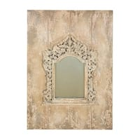 Marseille Baroque Wood Board/Antiqued Glass Long Decorative Wall Mirror