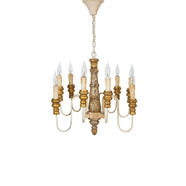 """Chatsworth Wood and Metal Luxury 9 Candelabra Light Chandelier Lighting Ceiling Fixture, Antiqued Finish, H 19"""" X W 22"""""""