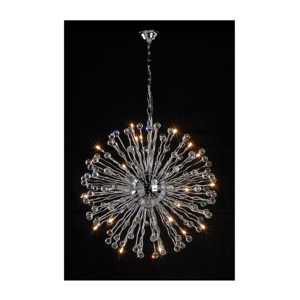 "Allium Contemporary Glass Crystal and Silvertone Sputnik Chandelier LED Lighting Ceiling Fixture (28"")"