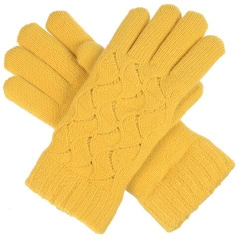 BYOS Women Winter Swirl Pattern Ultra Warm Soft Plush Faux Fur Fleece Lined Knit Gloves