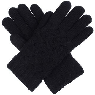 BYOS Women Winter Swirl Pattern Ultra Warm Soft Plush Faux Fur Fleece Lined Knit Gloves