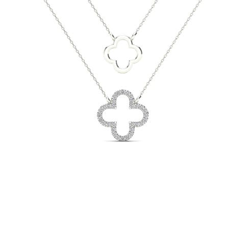 AALILLY 10k White Gold Diamond Accent Double Strand Clover Necklace (H-I, I1-I2)