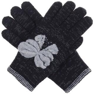 BYOS Winter Bow Tie Ultra Warm Plush Fleece Lined Knit Gloves, More Styles