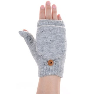 BYOS Women Winter Soft Warm Plush Fleece Lined Convertible Fingerless Knit Mittens Gloves Glittens w/ Thumb Flaps
