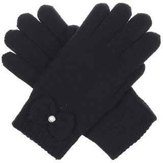 BYOS Womens Winter Ultra Warm Soft Plush Faux Fur Fleece Lined Knit Gloves W/ Decorated Cuff
