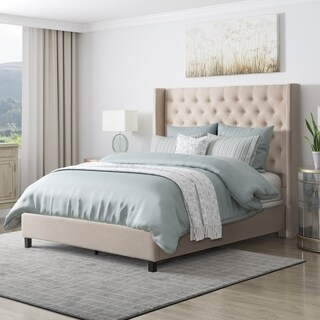 CorLiving Fairfield Tufted Fabric King Bed with Wings