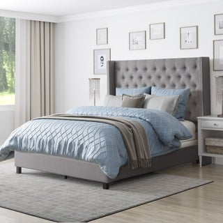 CorLiving Fairfield Tufted Fabric Bed with Wings, Queen