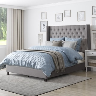 Porch & Den Richwood Tufted Fabric Queen-size Bed with Wings