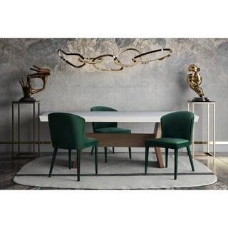 Metropolitan Forest Green Velvet Birchwood Modern Chair (Set of 2)