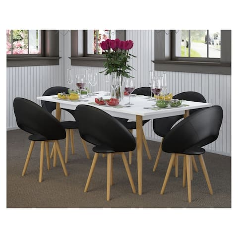 Scandinavian Living Texas Faux Leather Upholstery Wood Frame Dining Chair (Set of 2)