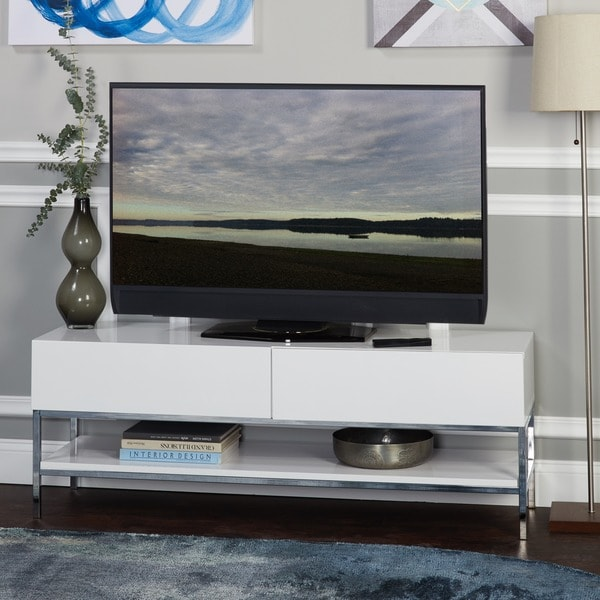 Simple Living Lewis White High Gloss Tv Stand