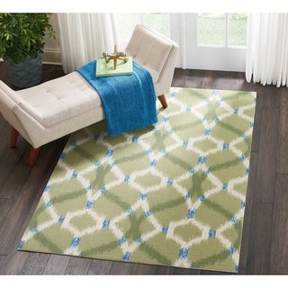 Porch & Den Greenpoint Moultrie Blue Ikat Indoor/ Outdoor Area Rug (5'3 x 7'5)