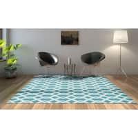 Porch & Den Greenpoint Calyer Blue/ Ivory Poolside Indoor/ Outdoor Rug - 5'3 x 7'5