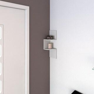 Porch & Den Montclair Lorraine Laminated Corner Shelf in White Finish