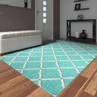 Porch & Den Greenpoint Monitor Aqua and Ivory Geometric Diamonds Indoor/ Outdoor Area Rug - 5'3 x 7'5