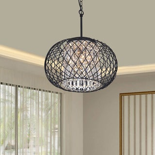 Porch & Den Cherrywood Hemlock Black Ironwork Crystal Pendant Chandelier