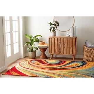 "Porch & Den Crowther 211 Multi-colored Swirls Area Rug - 3'3""x4'3"""