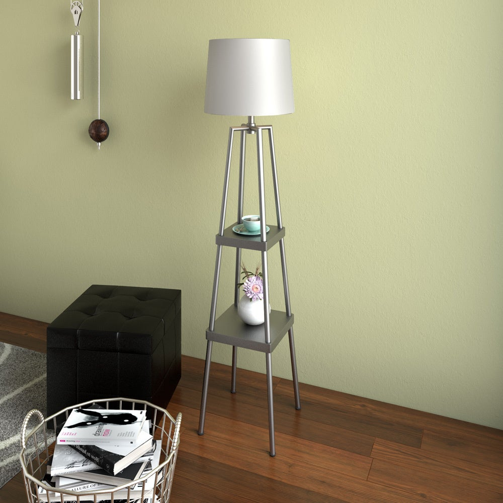 Etagere floor lamp light white linen shade 2 shelves metal frame etagere floor lamp light white linen shade 2 shelves metal frame iron finish aloadofball Image collections