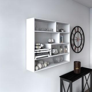 Porch & Den Lloyd Large Rectangular White Shelf Unit