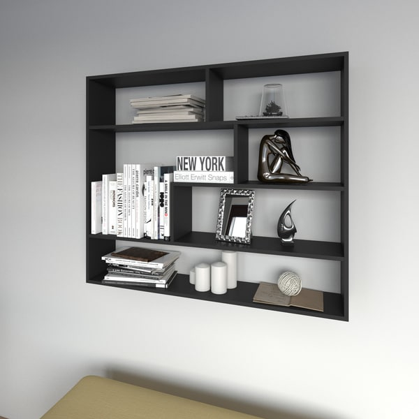 Porch & Den Llewellyn Large Rectangular Black Shelf Unit