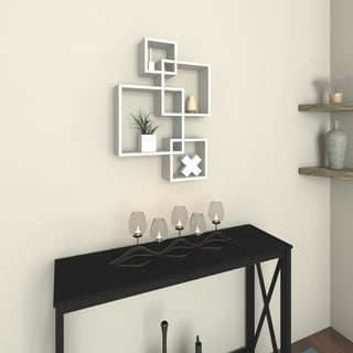 Porch & Den Montclair Myrtle White Laminate Intersecting Cube Shelves