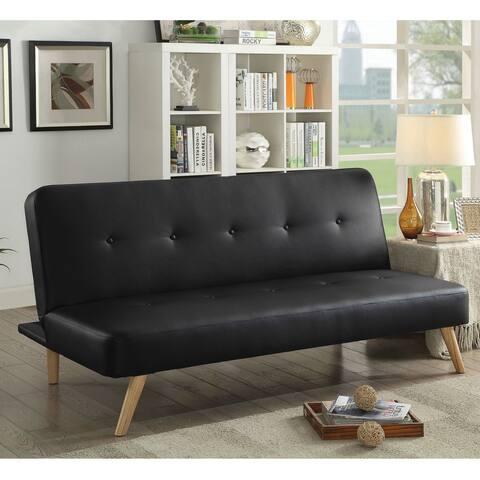 Furniture of America Fosh Mid-century Modern Faux Leather Futon Sofa
