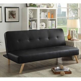 Shop Abbyson Newport Faux Leather Futon Sleeper Sofa Overstock 4486567