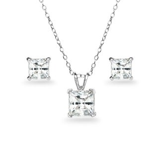 ICZ Stonez Sterling Silver Princess-cut Solitaire Necklace & Stud Earrings Set Created with Swarovski Zirconia