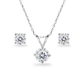 ICZ Stonez Sterling Silver Round Solitaire Necklace & Stud Earrings Set Created with Swarovski Zirconia