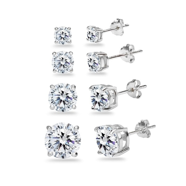 4e92dc8f7 ICZ Stonez 4-Pair Sterling Silver Stud Earrings Set Created with Swarovski  Zirconia, 4mm