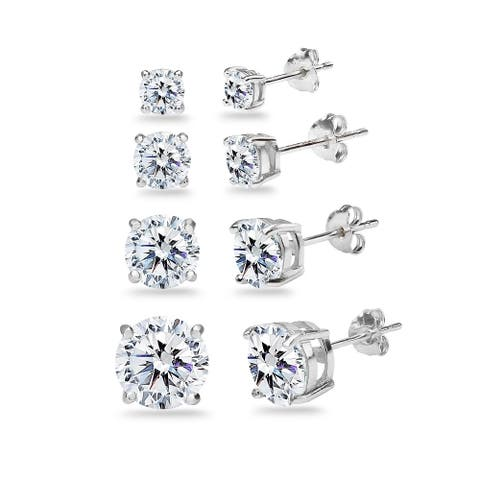 ICZ Stonez 4-Pair Sterling Silver Stud Earrings Set Created with Swarovski Zirconia, 4mm, 5mm, 6.5mm, 8mm