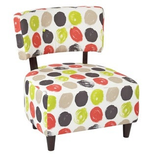 Office Star Products Ave Six Boulevard Midcentury Accent Chair With Dark Espresso Wood Legs and Polka Dot Fabric Upholstery