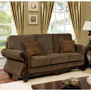 Shop Furniture of America Telemen Traditional Brown Fabric ...