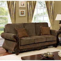 Furniture of America Telemen Traditional Brown Fabric Upholstered Wood Sofa